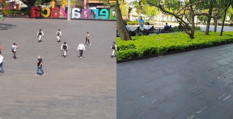 Autoridades piden a personas desalojar Plaza de Armas por COVID19; ellas ignoran y regresan