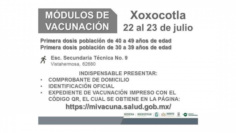 LLEGAN PRIMERAS DOSIS CONTRA COVID-19 PARA PERSONAS DE 40 A 49 AÑOS Y DE 30 A 39 AÑOS EN XOXOCOTLA