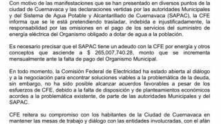 Hay falta de disposición de SAPAC y autoridades de Cuernavaca, dice CFE 2