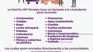 Abre DIF Morelos centro de acopio para apoyar a familias afectadas por lluvias 2
