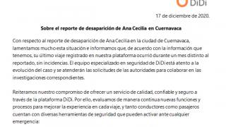 Didi: Ana Cecilia no viajó ayer en unidad de la plataforma en Cuernavaca 2