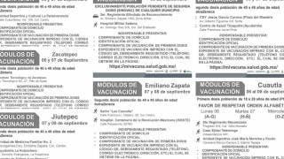 Vacunación en 7 municipios de Morelos con segundas dosis, rezagados y de 18 a 29 años 2