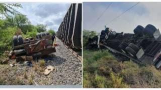 VIDEO: Tren choca contra tráiler de doble remolque y lo...