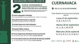 Todo sobre la vacunación en Cuernavaca de 40 a 49 años, segunda dosis de AstraZeneca 2