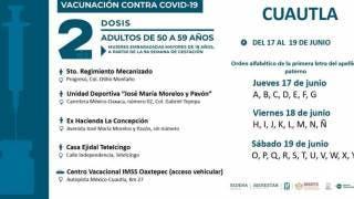 Inició este jueves jornada de vacunación en Cuautla; concluirá el sábado 2