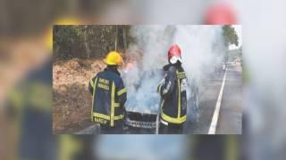 Arde camioneta en la carretera federal México-Cuernavaca 2