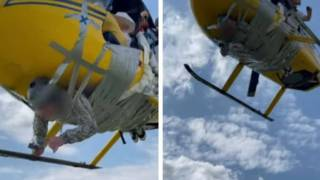 Youtuber vuela en helicóptero con su amigo pegado con cinta  2