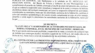 Desde hoy, Ley Seca en Yautepec, hasta que el semáforo regrese a naranja 2