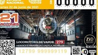 Luce locomotora 279 de Cuautla en billete de Lotería Nacional 2