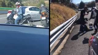 Motociclista detenido en la autopista México-Cuernavaca; iba en sentido contrario 2