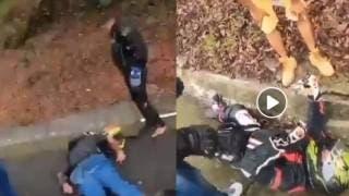 ¡Ya bájenle, Ya bájenle!: se accidenta pareja de motociclista en la México-Cuernavaca 2