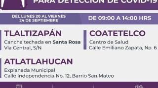 En estos municipios de Morelos habrá pruebas gratuitas para detectar COVID19 2