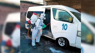 Desinfectan unidades del transporte en Cuernavaca 2