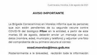 ¿Cuánto te aplicarán en Morelos la segunda dosis de Pfizer? Aquí te decimos:  2