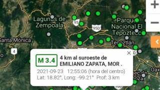 En Morelos, se registra sismo de 3.4, con epicentro en Emiliano Zapata 2