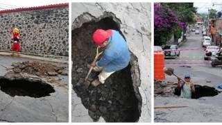 Aparece socavón en Acapantzingo, Cuernavaca, debido a la rotura de drenaje 2