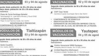 Llegan segundas dosis en vacunación a los de 50 a 59 años a 4 municipios de Morelos 2