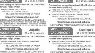 Cuernavaca, Cuautla, Jojutla y Zacatepec vacunarán a menores vs COVID19 lunes 25 y martes de octubre 2