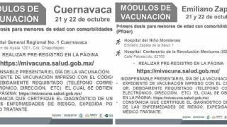 Jueves 21 y viernes 22 de octubre vacunación a menores vs COVID19 en Morelos 2