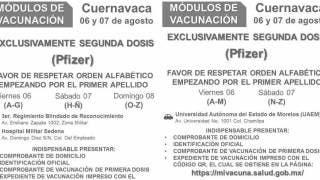 Definen sedes para vacunación de segunda dosis de Pfizer en Cuernavaca