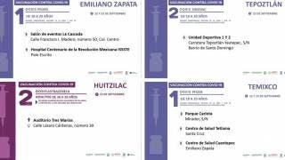 Vacunación desde este miércoles en 4 municipios de Morelos, para jóvenes de 18 a 29 años