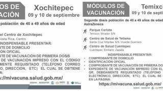 Vacunación segunda dosis en Temixco y Xochitepec, de AstraZeneca, 40 a 49 años 2