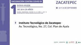 Inició vacunación en Zacatepec con Pfizer para los de 18 a 29 años, primera dosis 2