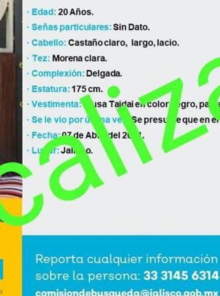 Localizan a Verónica, joven desaparecida en Jalisco