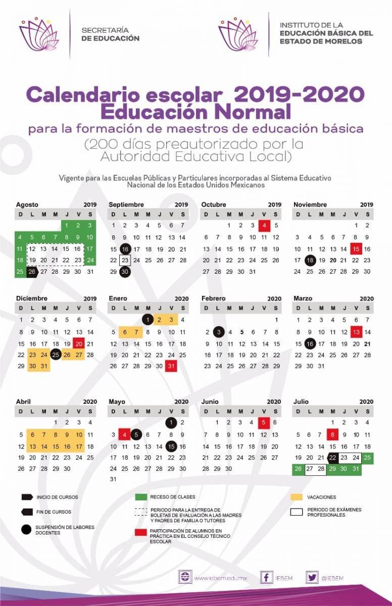 Calendario Mes Julio 2020.Este Es El Calendario Escolar Para El Ciclo 2019 2020 En Morelos