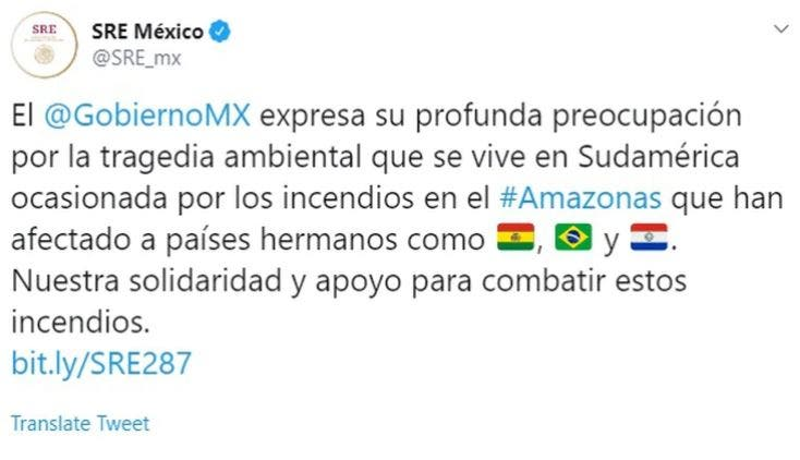 Se solidariza México por incendios en Amazonas y ofrece apoyo